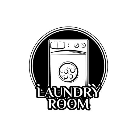 bleached: Washing Machine. Laundry Room And Dry Cleaning label and badge. Isolated On White Background Illustration