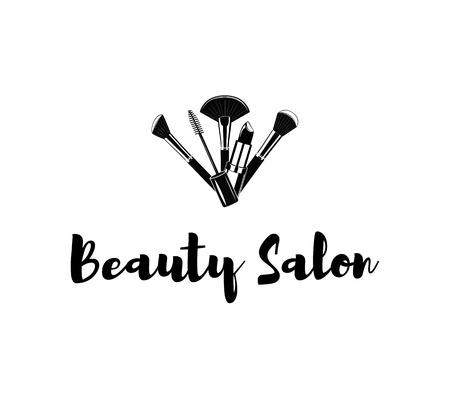 makeup brushes: Beauty Salon Badge. Makeup Brushes Logo. Vector Illustration