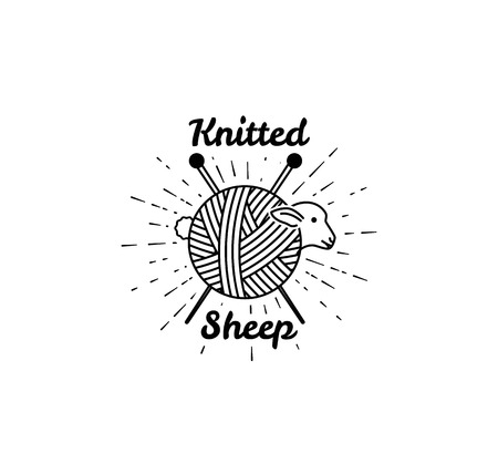bleating: Sheep Logo. Vector illustration. logo for knitting. Yarn balls from wool and angora. Knitting wool.