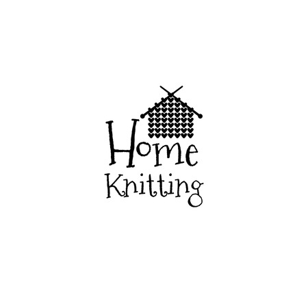 handicraft: Home Knitting. Knit House Hand Made knit label. Badge or logo. Design elements. Isolated On White Background