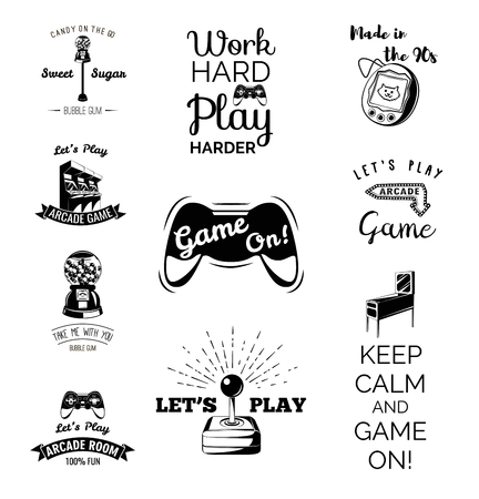 let s: Vector video games labels set. Arcade game room. Let s play videogame. Gum machine. gumball. Vector Illustration