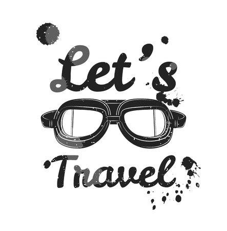 let s: Let s travel. Vintage template poster. Suitcase logo, frame, badge, label. Motivational poster with quote. Vector illustration. Motivation for traveling poster typography. Travel concept.