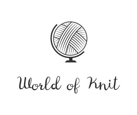 Globe. Hand Made knit label. World of Knit badge or logo. Design elements. Isolated On White Background