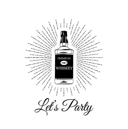 scotch: Bottle Of Scotch Whiskey. Lets Party lettering. Alcohol Vector Illustration. Illustration