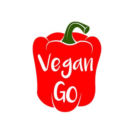 Go vegan vegetarian organic gourmet freshness cooking red pepper. Vector illustration.