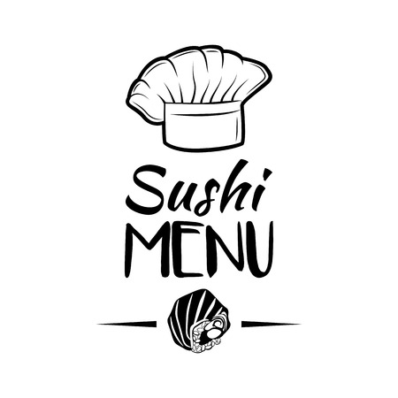 The Salmon roll. Sushi Menu. Hat Chef Japanese Cuisine. Vector Illustration. Isolated Ilustracja