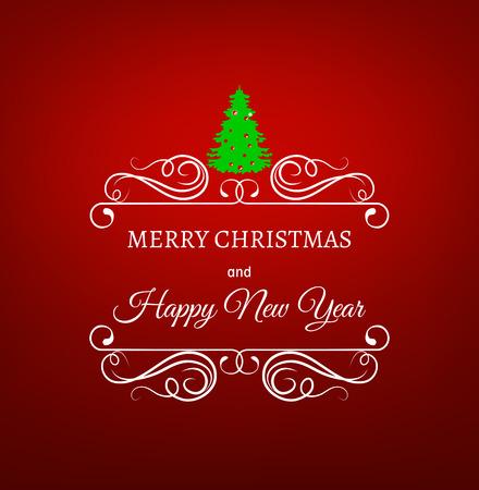 filigree swirl: merry christmas filigree frame with christmas tree on red background. xmas tree. happy new year celebration. filigree swirl frame.