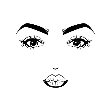 Female Lips, Eyes and Eyebrows. Beauty Industry Design Elements Vector Illustration Ilustração