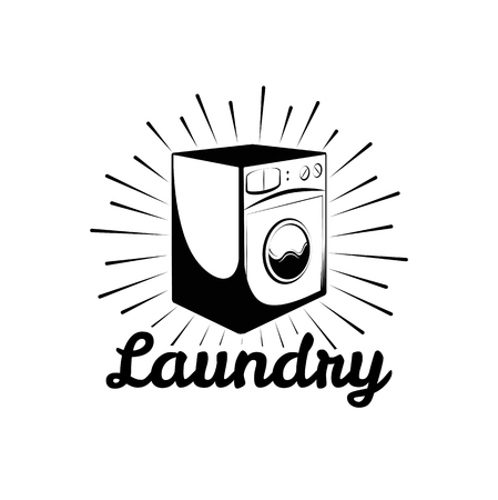 laundry care symbol: Washing Machine. Laundry Room And Dry Cleaning label and badge. Isolated On White Background Illustration