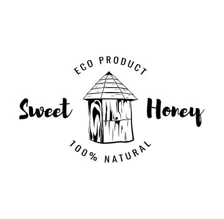 Bee s house. Sweet honey label, badge, logo. Vintage vector illustration