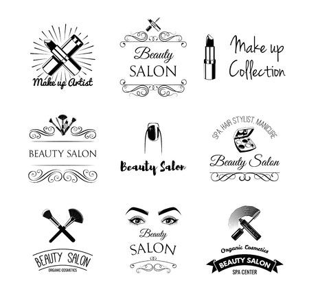 make up artist: Beauty Salon Design Elements in Vintage Style. Lipstick, mascara, lips, manicure, women eyes, make up brushes, nail and finger. Vintage filigree frame, logo, banner and label. Logo for make up artist.