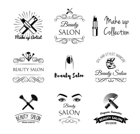 beauty shop: Beauty Salon Design Elements in Vintage Style. Lipstick, mascara, lips, manicure, women eyes, make up brushes, nail and finger. Vintage filigree frame, logo, banner and label. Logo for make up artist.