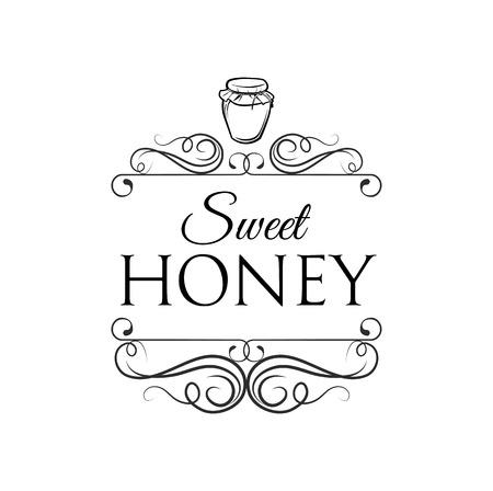 Small glass jar with golden honey. Sweet honey vintage filigree divider frame. Vector Illustration