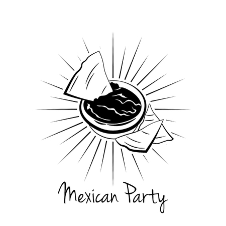 chips and salsa: Nachos With Salsa Sauce. illustration on white background, isolated. Mexico Food. Traditional Mexican Cuisine Vector Illustration