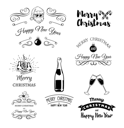 designe: Vintage xmas. Merry Christmas and Happy New Year. Greeting Card Set. Glass Champagne. Cool Santa Claus. Snowman. Clink Glasses. Bottle Champagne. Element Vector Illustration. Vintage christmas label