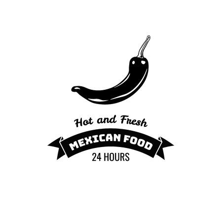 唐辛子のラベルです。メキシコ料理。伝統的なメキシコ料理のベクトル