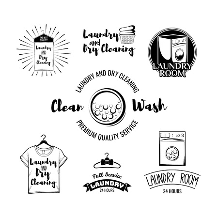 The Laundry basket. Washing Machine. A Clothes hanger. The t-shirt. Sportive T-Shirt. Case For Clothes. Iron. Dry cleaning. Labels and Badges Set. Illustration Vector Illustration