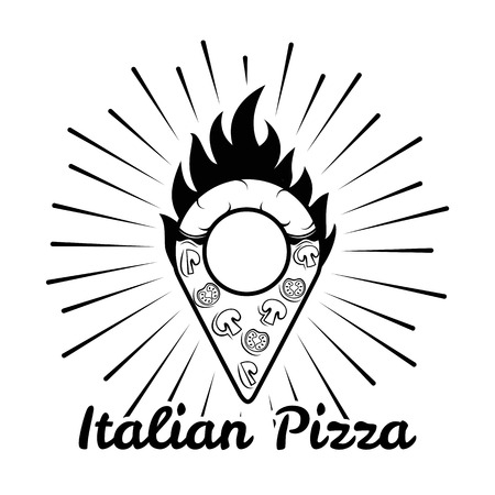 pizza place: Pizzeria map pointer. Slice of pizza. Italian cuisine. Food Delivery. Vector illustration Illustration