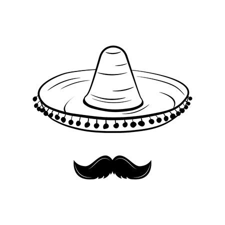 ソンブレロと口ひげ。メキシコの帽子。伝統的なメキシコの服。孤立したオブジェクト。ベクトル図  イラスト・ベクター素材