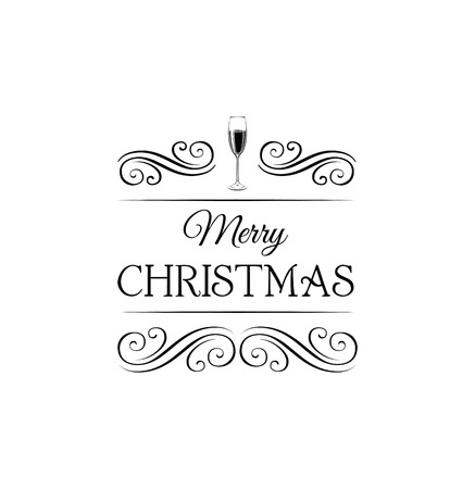 Champagne Glasses Merry Christmas And Happy New Year Label - Champagne label template