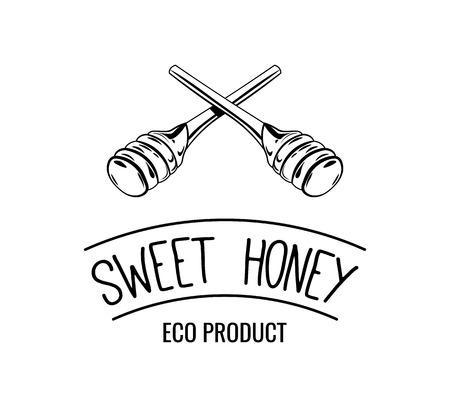Wooden honey dipper, sketch style vector illustration isolated on white background. Sweet honey label, badge. Vector Çizim
