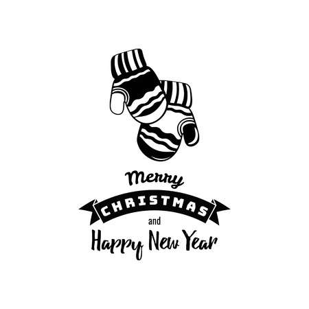 Cute Mittens. Merry Christmas and a Happy New Year. Vector Illustration
