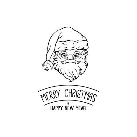 Santa Claus for christmas Merry Christmas. Happy New Year Greeting Card. Xmas Face. Vector Illustration