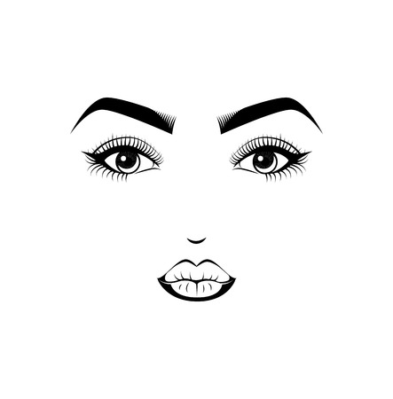 Female Lips, Eyes and Eyebrows. Beauty Industry Design Elements Vector Illustration Illustration