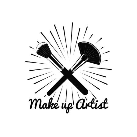 make up artist: Beauty Salon Badge. Makeup Brushes Make Up Artist. Vector Illustration