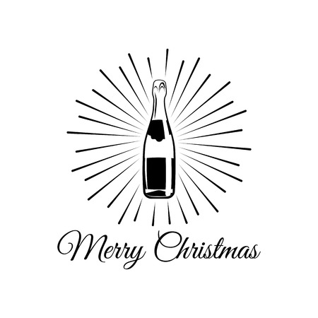 Mousserende wijn. Champagnefles. Alcohol Design Element. Drankjes. Een geïsoleerd object. Vector illustratie
