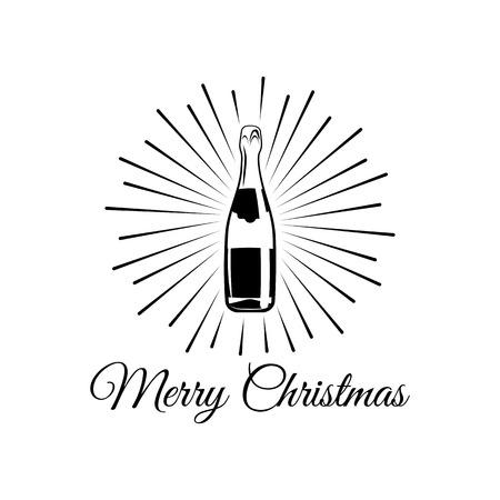Mousserende wijn. Champagnefles. Alcohol Design Element. Drankjes. Een geïsoleerd object. Vector illustratie Stockfoto - 67960394