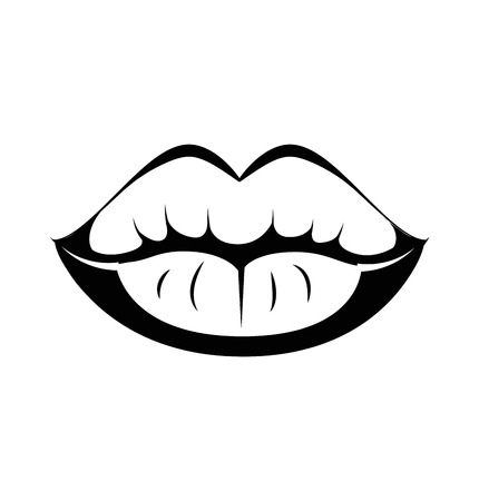 kiss lips: Black lips kiss lips vector lips close up white background. Vector illustration. Isolated On White Illustration