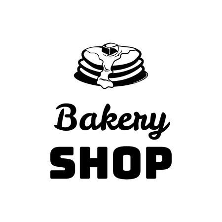 Pancakes with butter. Bakery shop. Vector Illustration Isolated Illustration