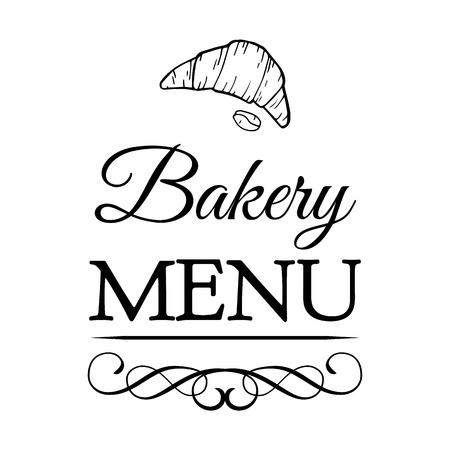 Croissant label. Baker Badge. Bakery Label. Decorated With filigree Curls, Curls Vector Illustration. Isolated