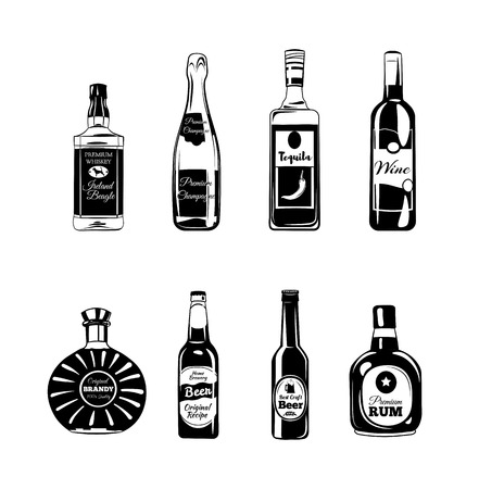 ボトル アルコール要素。テキーラ、シャンパン、ウィスキー、ワイン、ブランデー、白い背景で隔離のビール ラム ベクトル図
