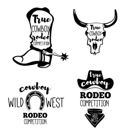 western usa: Wild West. Set of vintage rodeo emblems, labels, badges and designed elements. Western USA label about wild west Illustration