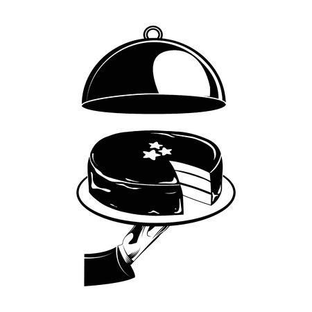Chocolate cake on a platter. Vector Illustration. Isolated On White Background Reklamní fotografie - 68882761