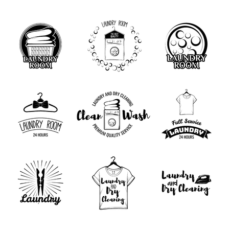 Laundry basket. Washing Machine. A Clothes hanger. The t-shirt. Sportive T-Shirt. Case For Clothes. Iron. Dry cleaning. Labels and Badges Set. Illustration Vector Laundry room