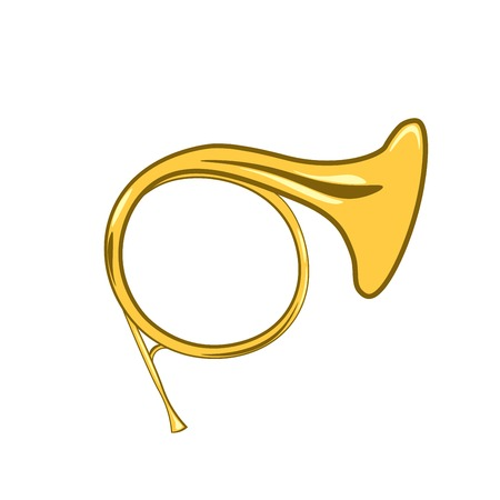 Golden french horn in hard light isolated on white background. Vector Illustration. Isolated On white Background