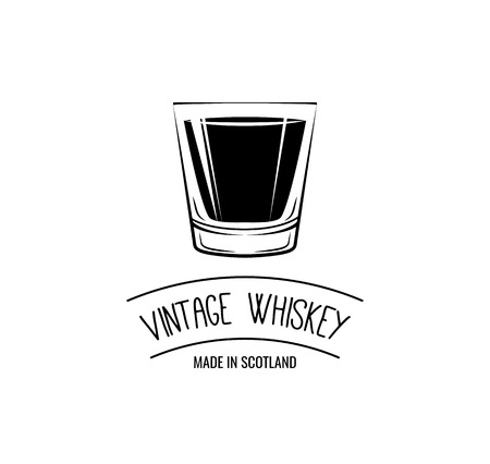 Vintage Whiskey Label - Whisky Glass . Vector Illustration Çizim