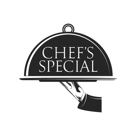 Food platter serving vector icon. Chef s Special. Restaurant menu. Waiter hands with cloche lid vector illustration. Hand holding or carrying empty silver serving platter. Vector Illustration