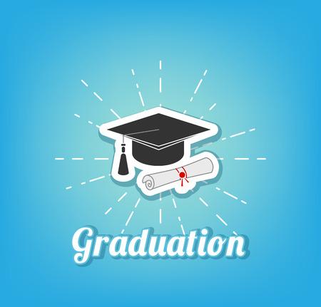 Graduate Cap With Diploma. Graduation Icon. Vector Illustration Illustration