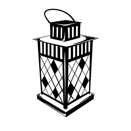 Vintage Hurricane lamp oil. Isolated On White. Vector Illustration Ilustração