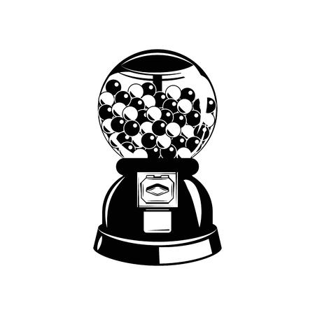 Gumball machine. Black and white. Vector illustration. Isolated On White Background Illustration