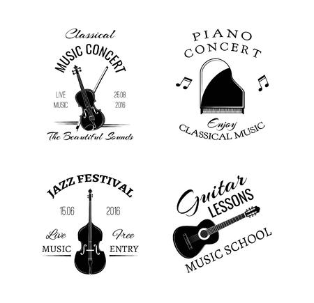 音楽ヴィンテージ レトロなラベル、バッジ。ギター、ピアノ。ジャズ フェスティバル。コントラバス。音楽祭やコンサート。音楽クラシック、ロッ  イラスト・ベクター素材