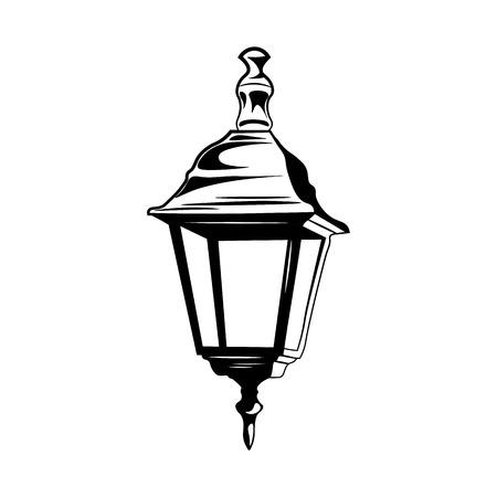 streetlamp: decorative vintage street lamp isolated on white. Retro light. Vector Illustration