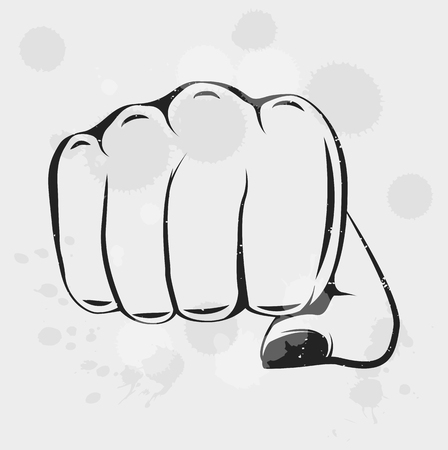 Female Fist in vintage style. Vector illustration. Women hand fist. Feminism.