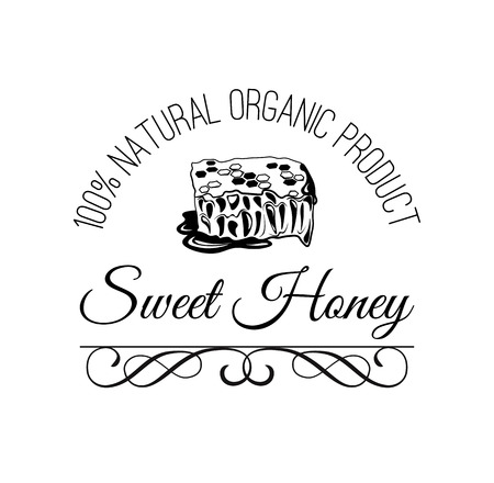 Honeycomb. Sweet honey label, logo, badge. Eco product. Vintage vector illustration. Isolated On White Background Illustration