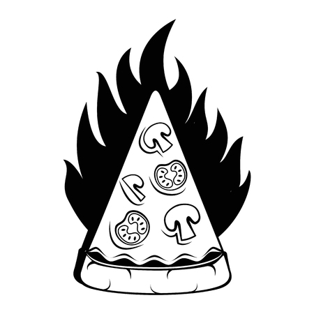 Slice Of Pizza. Pizza Delivery. Traditional Italian Cuisine. Illustration