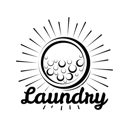 Laundry Room label and badge. washer, washing machine bubbbles. Illustration